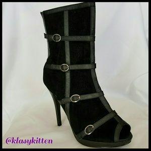 Shoes - Vegan Suede/Leather Peep Toe Stiletto Bootie